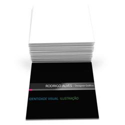 Cartão de Visita - 10.000 unidades - 43x48mm em Couché Fosco 300g - 4x0 - Laminação Fosca e Verniz Localizado F/V -  (cód. 6819)
