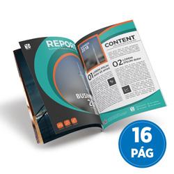 Revista 16 Páginas - 10.000 unidades - 100x140mm em Couché Brilho 90g - 4x4 - Sem Cobertura - Grampo Canoa (cód. 17094)