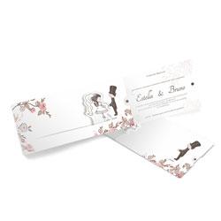 Convite de Casamento Especial 02 - 150 unidades - 116x269mm em Envelope Perolizado 180g - Lâmina Papel Perolizado 180g - 4x0 - Sem Cobertura - Faca Padrão (cód. 12540)