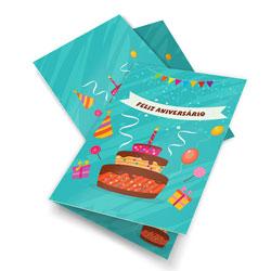 Convite de Aniversário - 105x148mm em Couché Brilho 250g - 4x4 - Sem Cobertura - Vinco Central