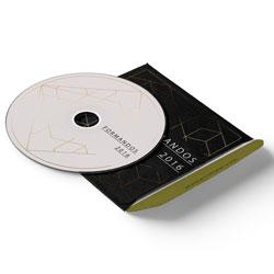 Envelope CD e DVD Colado - 200 unidades - 125x125mm em Couché Brilho 250g - 4x4 - Laminação Fosca Frente e Verso - Faca Padrão (cód. 11099)
