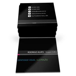 Cartão de Visita - 2.000 unidades - 43x48mm em Couché Brilho 250g - 4x1 - Verniz Total Brilho F/V -  (cód. 6748)