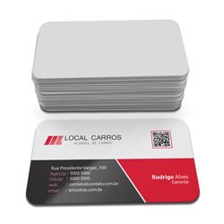 Cartão de Visita - 20.000 unidades - 45x80mm em Couché Fosco 300g - 4x0 - Laminação Fosca e Verniz Localizado F/V - 4 Cantos Arredondados Mini (cód. 3330)