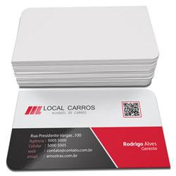Cartão de Visita - 20.000 unidades - 48x88mm em Couché Fosco 300g - 4x0 - Laminação Fosca e Verniz Localizado F/V - 2 Cantos Arredondados (cód. 3115)