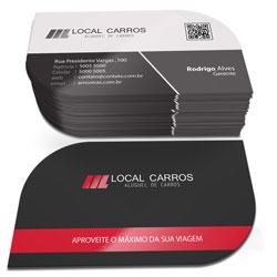 Cartão de Visita - 20.000 unidades - 48x88mm em Couché Fosco 300g - 4x1 - Laminação Fosca e Verniz Localizado F/V - Corte Folha (cód. 3765)