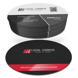 Cartão de Visita - 20.000 unidades - 48x88mm em Couché Fosco 300g - 4x1 - Laminação Fosca e Verniz Localizado F/V - Corte Oval (cód. 3980)