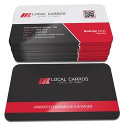 Cartões de Visita - 48x88mm em Couché Fosco 300g - 4x4 - Laminação Fosca e Verniz Localizado F/V - 4 Cantos Arredondados