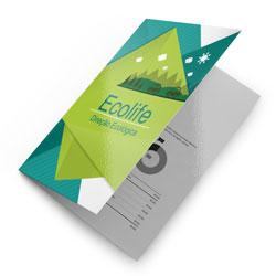 Folders - 20.000 unidades - 297x420mm em Couché Brilho 150g - 4x1 - Verniz Total Brilho F/V - Dobra Central (cód. 11447)