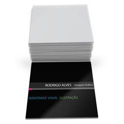 Cartão de Visita - 20.000 unidades - 43x48mm em Couché Brilho 250g - 4x0 - Verniz Total Brilho Frente -  (cód. 6730)