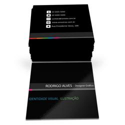 Cartão de Visita - 20.000 unidades - 43x48mm em Couché Brilho 250g - 4x4 - Verniz Total Brilho Frente -  (cód. 6740)