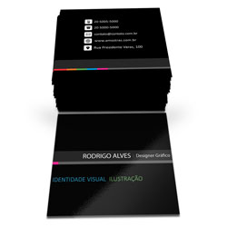 Cartão de Visita - 20.000 unidades - 43x48mm em Couché Brilho 300g - 4x4 - Verniz Total Brilho Frente -  (cód. 6770)