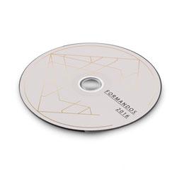 Adesivo para CD e DVD - 25 unidades - 115x115mm em Adesivo Couché Brilho 80g - 4x0 - Sem Cobertura - Meio Corte Padrão (cód. 11103)