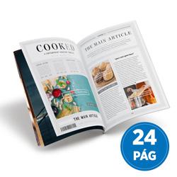 Revista 24 Páginas - 25 unidades - 210x297mm em Couché Brilho 150g - 4x4 - Sem Cobertura - Grampo Canoa (cód. 18066)