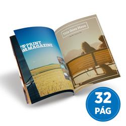 Revista 32 Páginas - 25 unidades - 148x210mm em Couché Brilho 150g - 4x4 - Sem Cobertura - Grampo Canoa (cód. 17966)