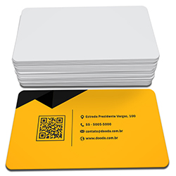 Cartão de Visita - 250 unidades - 48x88mm em Couché Fosco 300g - 4x0 - Laminação Soft Touch - 4 Cantos Arredondados (cód. 4156)