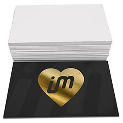 Cartão de Visita Dourado - 250 unidades - 48x88mm em Couché Fosco 300g - 4x0 - Laminação Soft Touch - Hot Stamping Dourado Frente -  (cód. 2730)