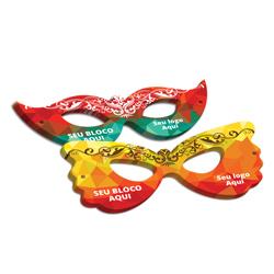 Máscaras - 250 unidades - 75x190mm em Couché Brilho 250g - 4x4 - Verniz Total Brilho Frente - Faca Padrão (cód. 24963)