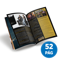 Revista 52 Páginas - 250 unidades - 148x210mm em Couché Brilho 150g - 4x4 - Sem Cobertura - Grampo Canoa (cód. 18019)
