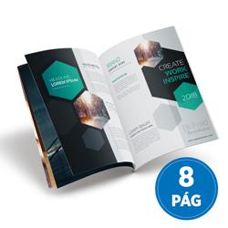 Revistas 8 Páginas - 2.500 unidades - 148x200mm em Couché Brilho 115g - 4x4 - Sem Enobrecimento - Grampo Canoa (cód. 10869)