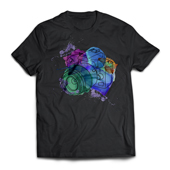 Camiseta T-Shirt Preta XG - 30 unidades - 670x540mm em Algodão 100g - 4x0 - Estampa A4 Fosca - Meio-Corte Personalizado (cód. 15837)