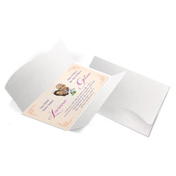 Convite de Casamento - 142x210mm em Envelope Color Plus Alaska 180g - Lâmina Couché 250g - 4x0 - Sem Cobertura - Faca Padrão