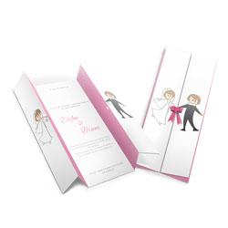 Convite de Casamento Moderno 06 - 300 unidades - 99x210mm em Envelope Couché 250g - 4x4 - Sem Cobertura - Faca Padrão (cód. 12622)