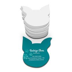Cartões de Visita - 3.000 unidades - 48x88mm em Couché Fosco 300g - 4x0 - Verniz Localizado Frente - Corte Especial (cód. 4174)