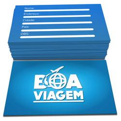 Cartão de Visita - 400 unidades - 48x88mm em Couché Brilho 250g - 4x4 - Sem Cobertura -  (cód. 4654)