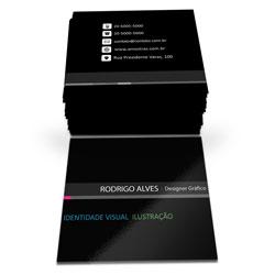 Mini Cartões de Visita - 43x48mm em Couché Brilho 300g - 4x1 - Verniz Total Brilho Frente -