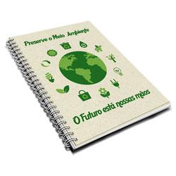 Caderno - 200x275mm em Folhas Internas Reciclato 75g - 4x0 - Laminação Fosca Frente - Wire-o Branco