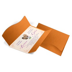 Convite de Casamento Clássico 08 Cartagena - 50 unidades - 142x210mm em Envelope Color Plus Cartagena 180g - Lâmina Couché 250g - 4x0 - Sem Cobertura - Faca Padrão (cód. 12418)