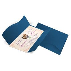Convite de Casamento Clássico 08 - 142x210mm em Envelope Color Plus Toronto 180g - Lâmina Couché 250g - 4x0 - Sem Cobertura - Faca Padrão