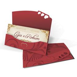Convite de Casamento Especial 01 Pequim Estampado - 50 unidades - 130x230mm em Envelope Color Plus Estampado Pequim 180g - Lâmina Couché 250g - 4x0 - Sem Cobertura - Faca Padrão (cód. 12533)