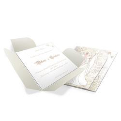 Convite de Casamento Moderno 04 - 50 unidades - 146x150mm em Envelope Perolizado 180g - Lâmina Papel Perolizado 180g - 4x0 - Sem Cobertura - Faca Padrão (cód. 12606)