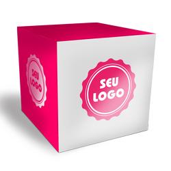 Cubo Promocional - 50 unidades - 200x200mm em Couché Brilho 300g - 4x0 - Verniz Total Brilho Frente - Faca Padrão (cód. 21092)
