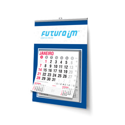 Folhinha Comercial - 50 unidades - 180x270mm em Duplex Azul 300g - 4x0 - Sem Cobertura - Vareta - Bloco Calendário 2020 (cód. 16832)