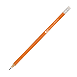 Lápis Laranja - 50 unidades - 7x50mm em Madeira Resinada  - 4x0 -  - Personalizado - Com Borracha (cód. 21829)