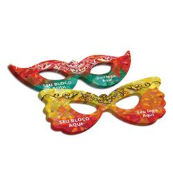 Máscaras - 50 unidades - 75x190mm em Couché Brilho 250g - 4x4 - Laminação Holográfica - Faca Padrão (cód. 24950)