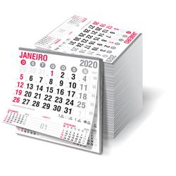 Bloco de Calendário Mini Comercial - 500 unidades - 142x152mm em Sulfite 63g - 2x0 - Sem Cobertura - Destacado - Bloco Calendário 2020 (cód. 22035)