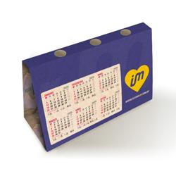 Calendário de Mesa Porta-Caneta - 500 unidades - 143x260mm em Reciclato 240g - 4x4 - Sem Cobertura - Faca Padrão (cód. 1876)
