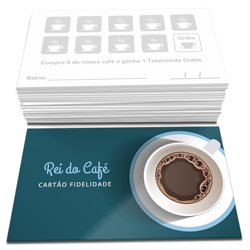 Cartão Fidelidade - 500 unidades - 48x88mm em Couché Brilho 250g - 4x1 - Verniz Total Brilho Frente -  (cód. 22781)