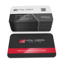 Cartão de Visita - 500 unidades - 45x80mm em Couché Fosco 300g - 4x1 - Laminação Fosca e Verniz Localizado F/V - 4 Cantos Arredondados Mini (cód. 3331)