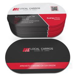 Cartão de Visita - 500 unidades - 47x85mm em Couché Fosco 300g - 4x4 - Laminação Fosca e Verniz Localizado F/V - Super 4 Cantos Arredondados (cód. 4841)