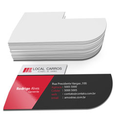 Cartão de Visita - 500 unidades - 48x88mm em Couché Fosco 300g - 4x0 - Laminação Fosca e Verniz Localizado F/V - Corte Especial (cód. 4186)