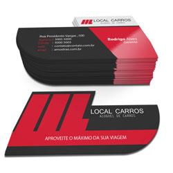 Cartão de Visita - 500 unidades - 48x88mm em Couché Fosco 300g - 4x4 - Laminação Fosca e Verniz Localizado F/V - Corte Especial (cód. 4196)