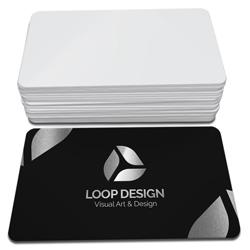 Cartão de Visita Prata - 500 unidades - 48x88mm em Couché Fosco 300g - 4x0 - Laminação Soft Touch - Hot Stamping Prata Frente - 4 Cantos Arredondados (cód. 22302)