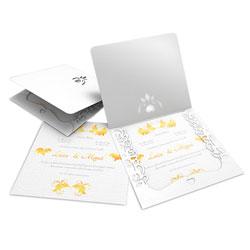 Convite de Casamento Romântico 07 Telado - 500 unidades - 240x215mm em Envelope Diamond Telado 180g - Lâmina Diamond Telado 180g - 4x0 - Sem Cobertura - Faca Padrão (cód. 12686)