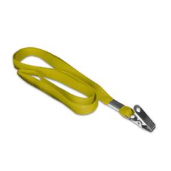 Cordão Liso Amarelo - 500 unidades - 840x12mm em Poliéster  - Sem impressão -  - Terminal Argola e Jacaré - Sem Personalização (cód. 21357)