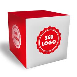 Cubo Promocional - 500 unidades - 100x100mm em Couché Fosco 300g - 4x0 - Laminação Fosca Frente - Faca Padrão (cód. 21065)