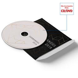 Envelope CD e DVD Colado - 500 unidades - 125x125mm em Couché Brilho 250g - 4x0 - Laminação Fosca Frente e Verso - Faca Padrão (cód. 11092)